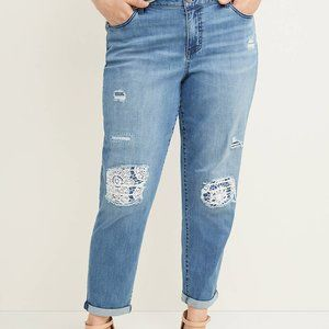 Jeans 24 25 Lane Bryant Lace Backed Boyfriend Plus